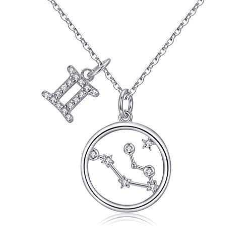 Qings 925 Sterling Silver Constellation Gemini Horoscope Necklace, Astrology Symbol Unique Love Necklace, Fashionable Jewelry for Young Girls