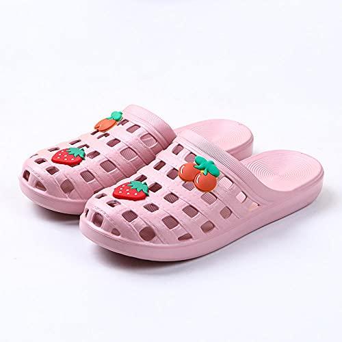 WUHUI Zapatillas de baño, EVA Masajes Playa Chanclas Sandalias, Zapatillas de Mujer Antideslizantes y Transpirables, -40-41_Red