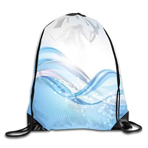 NoBrand Drawstring Backpack Sports Gym Bag for Women Men, D0040 Modern Wavy Ocean Surfer Summertime Themed Bubble Detailed Work Of Art