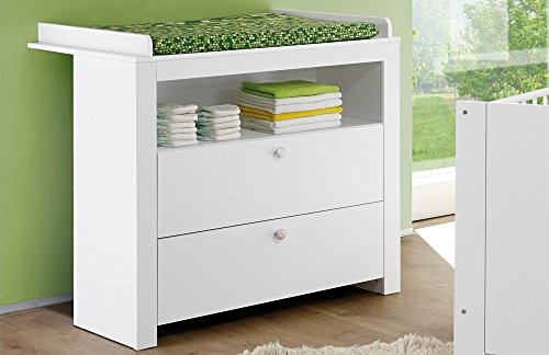 trendteam smart living Babyzimmer Wickelkommode Kommode Olivia, 96 x 102 x 77 cm in Weiß mit viel Stauraum und Ablagefläche