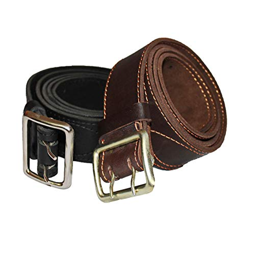 Heavy Duty Work Belts   Wide 2 Inch Belt for Jeans   Double Prong Belts   Handmade Men's Leather Belt   Military Police Officer Gift