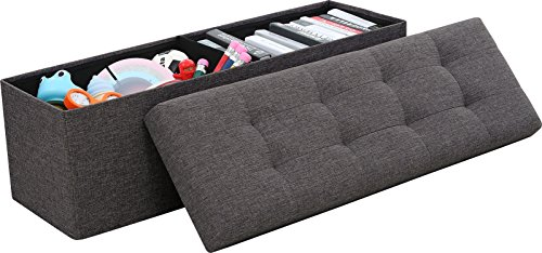Ornavo Home Foldable Tufted Linen Large Storage Ottoman Bench Foot Rest Stool/Seat - 15' x 45' x 15' (Charcoal)