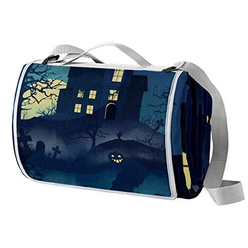 Anmarco Gloomy House in Forest - Manta de picnic con murciélagos voladores, impermeable, para exteriores, plegable, para playa, camping, senderismo