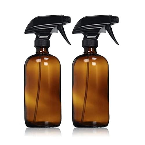 Uayasily 2pcs Vacío Ámbar De Cristal del Aerosol Botella Boston Botella Embalaje Botella Vacía con Negro Atomizador Grande 17 Oz Recargable del para Aceites, Productos De Limpieza