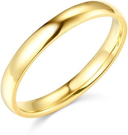 Solid 14K Gold Plain Shiny Comfort Fit Wedding Band Ring Mens Women