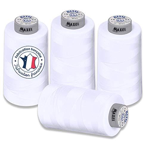 Maxel - Fil à coudre Polyester Surjeteuse et Machine à coudre - 4 Bobines de 2,5km chacune, 4 x Blanc - 10,000m au Total