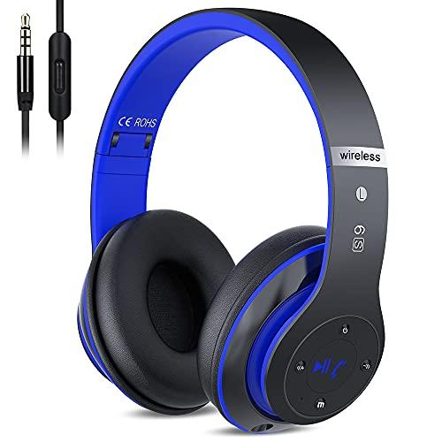 Wireless Kopfhörer Over Ear, Bluetooth Kopfhörer mit Mikrofon Deep Bass HiFi Stereo Faltbares Wireless Headphone, Unterstützt die Micro SD/TF FM Radio (für iPhone/Samsung/iPad/Computer)
