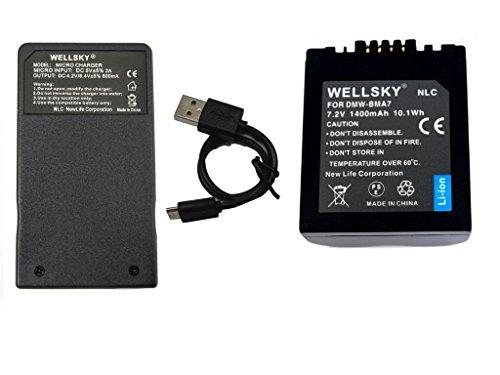 WELLSKY DMW-BMA7 1400mAh 互換バッテリー 1個 & DE-A43A 超軽量 Type-C USB 急速 互換充電器 バッテリーチャージャー 1個 [ 2点セット ] [ 純正品と同じよう使用可能 ] Pパナソニック 一眼レフ LUMIX ルミックス DMC-FZ50 DMC-FZ30 DMC-FZ7 DMC-FZ8 DMC-FZ18 DMC-FZ38