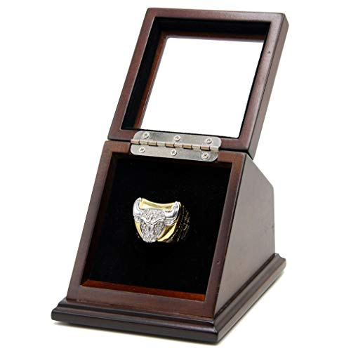 1 Slot Championship Rings Wooden Display case Shadow Box with Slanted Glass Window for Football Rings Basketball Hockey Sports Championship Rings - Rings are Not Included