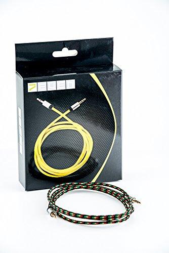 7even® Auxkabel 3,5mm Mini-Klinke mit Textimantel für AUX, Smartphone und Kopfhörer (Reggae/Rasta)