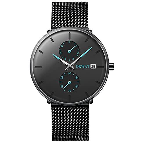 Relojes Hombre DKWAT Cuarzo Relojes Mujer Pulsera De Malla Ultra Fino, Reloj de Pulsera clásico Negro Impermeable, Minimalista Dial analógico para Relojes de Hombre Casual, Japonés Movimiento
