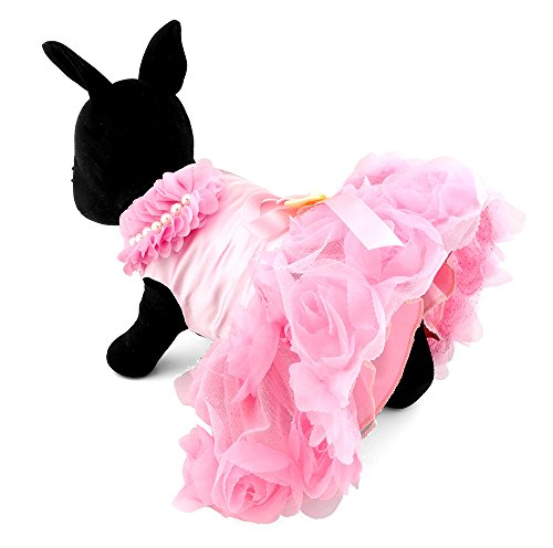 Zunea Satén Rosa Princesa Mascota Perro Vestido De Boda Cachorro Chihuahua Falda...