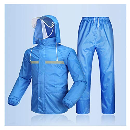 하이 멘스 | 우먼스 방수 세트 멘스 방수 레인 코트 재킷 바지 밑바닥 세트 슈트 작업 캠핑 낚시(색: 블루 B 크기: L)