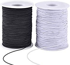 Zealor 2 Roll 1 mm Elastic String Cord Elastic Thread Beading String Cord for Jewelry Making Bracelets Beading 100 Meters/Roll (White and Black)