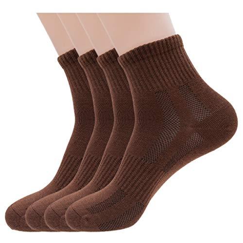 Mens Brown Athletic Quarter Ankle Socks, Cotton & Pearl-Fiber Diabetic Low Crew Dress Socks Odor-Eater Moisture-Wicking Soft Cozy Breathable Socks for Sweaty Feet (4 Pack)