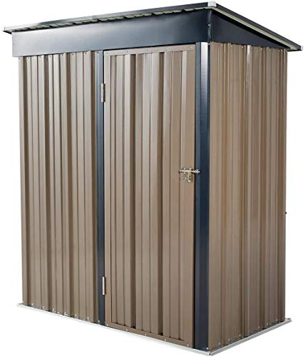 Metal Garden Shed Garden Storage Outdoor Metal Utility Tool Storage with Lock for Tools 5x3'