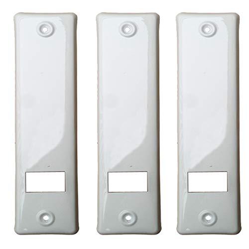 3er SET Gurtwicklerblende mit Gurtausbau Lochabstand 160mm Blende für Gurt, Abdeckplatte Farbe Weiß, ALU