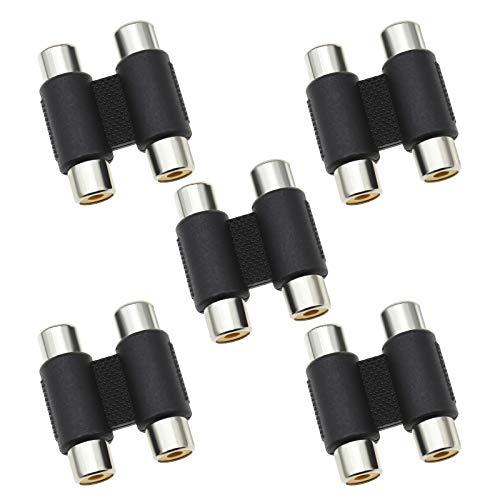 5 adaptadores de doble RCA hembra a RCA hembra adaptador de doble recto a través de AV audio vídeo cable adaptador de extensión