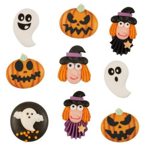 Günthart Halloween Mix | Fasching | Zuckerfiguren flach | Kürbis | Hexe| Gespenst | Tortendeko | 30St.