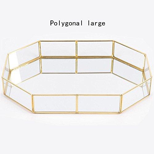 Honey Gold Mirrored Vanity Tray, Glas Makeup Display Organizer, Comestic Lagerung für Palette/Lippenstift/Pinsel/Hautpflege/Parfüm/Bad-Accessoires