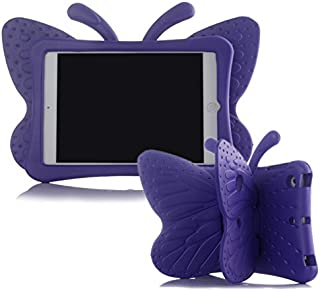 iPad Mini Case, iPad Mini 2 Case, iPad Mini 4 Case for Kids, Adorable Butterfly Wings Doubles as Kickstand Carrying Tablet Protective Case Cover for iPad Mini 1/2/3/4 - Purple