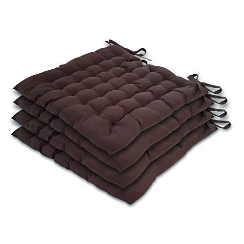 casamia Stuhlkissen 4er Set 40x40cm Sitzkissen Stuhlauflage mit Bindeband 4 Stück Bezug 100% Polyester Farbe braun