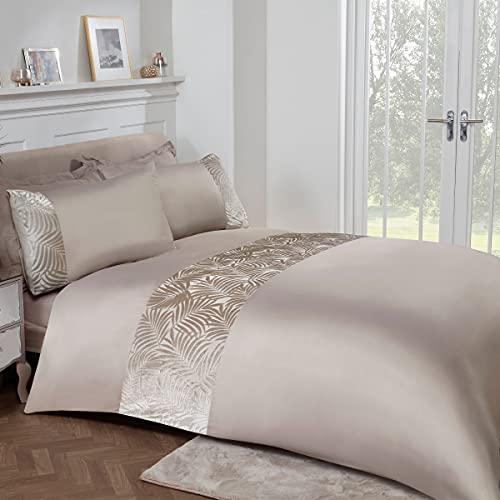 Sleepdown Juego de Cama edredón y Fundas de Almohada (220 x 260 cm), diseño de Hojas de Terciopelo, Poliéster, Marrón visón, Matrimonio Grande
