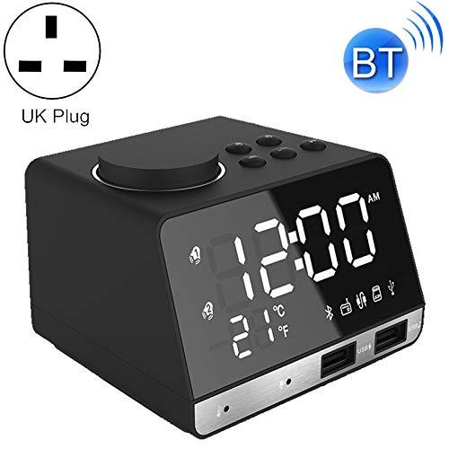 Laifeng ZIMO, K11 Bluetooth-Wecker-Lautsprecher Creative-Digital-Musik-Taktgeber-Anzeige-Radio mit Doppel-USB-Schnittstelle, Unterstützung U Disk/TF/FM/AUX, UK-Stecker (schwarz)