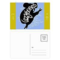 黒のナマケモノの動物のシルエットのナチュラル 友人のポストカードセットサンクスカード郵送側20個