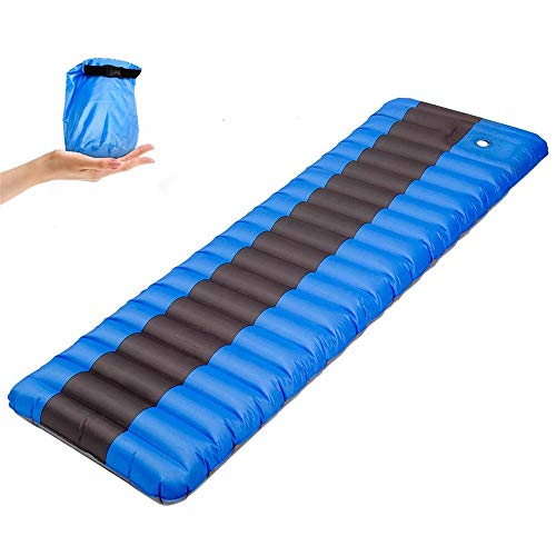YLiansong-home Ultralight Camping Mattress Inflatable Comfortable Camping Mat Elastic Sponge Outdoor Camping Mat Easy to Carry Picnic Mat For Camping (Color : Blue, Size : 190×60×12cm)