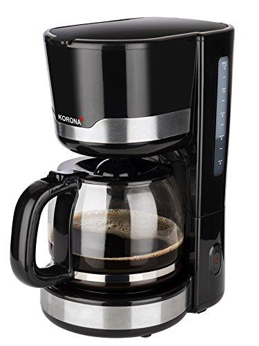 Korona 10232 Kaffeemaschine | Filter Kaffeeautomat für 12 Tassen Kaffee | 1.5 Liters |Kanne aus Glas | Schwarz Edelstahl | 1000 Watt