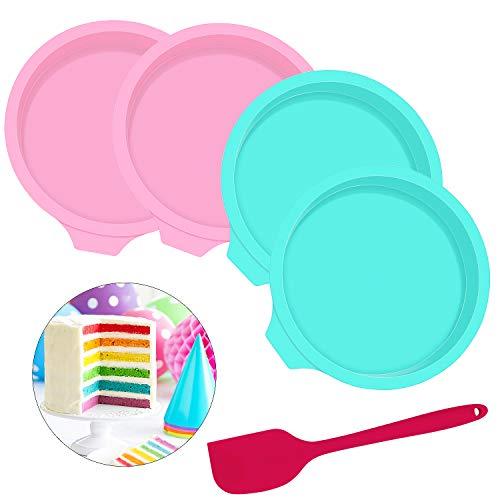 Homgaty 4 Stück Silikon Kuchenformen Runde Backform, Schichtkuchen-Backform 15 cm Gebäck-Backform mit Silikonspatel für Geburtstagsfeier Hochzeitstag (Farbe: Rosa, Grüne)