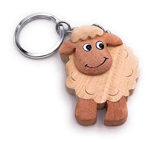 Onwomania - 'Muflón de oveja brillante Llavero - amuleto de la suerte de madera ideal como regalo, por ejemplo, para el mejor amigo, el mejor amigo, mamá - para hombres, mujeres y niños
