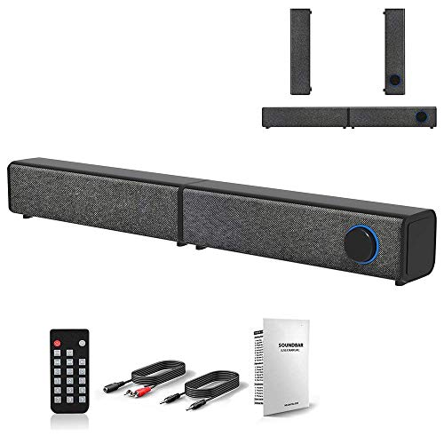 Detachable TV Speaker, FLYTOP Wired Wireless Bluetooth Sound Bar Desktop PC Speakers with Stereo Sound, 3.5mm Audio Input for Computer TV Smartphone Tablet