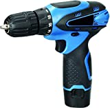 Shivonic 10 mm Keyless Chuck 12V Cordless Drill/Screwdriver with 2 Batteries, 5 Wall, 13 HSS Wood bits Variable Speed and Torque Setting (19 and 1,)