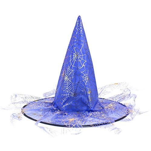 ruiruiNIE Adult Kids Unisex Wicked Witch Hat con Bronzing Spider Web Veil Halloween Magic Wizard Masquerade Party Cosplay Costume - Blue