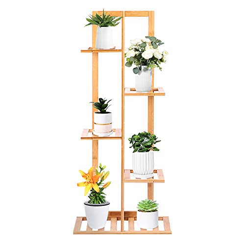 Estantería para Plantas de Bambú, Estanterías Plantas Interior Soporte de Flores de bambú Multicapa Soporte de Maceta Trapezoidal con Pala rastrillo Guantes para Interior Jardín al Aire Libre Balcón