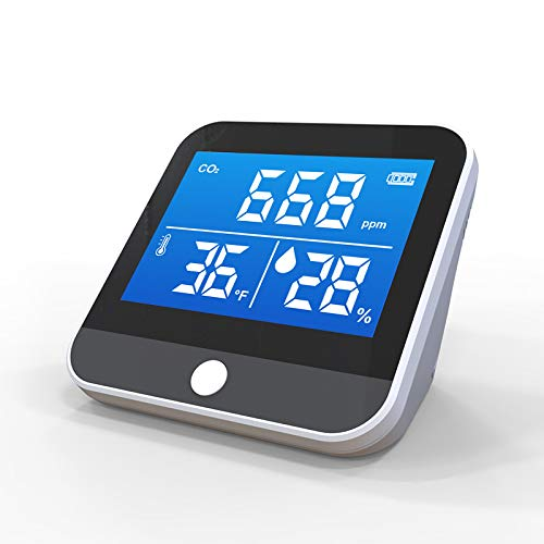 emissimo CO2 Messgerät, CO2 Monitor CO2-Air Akkubetrieb schwarz/weiß Messbereich 400-5000 PPM