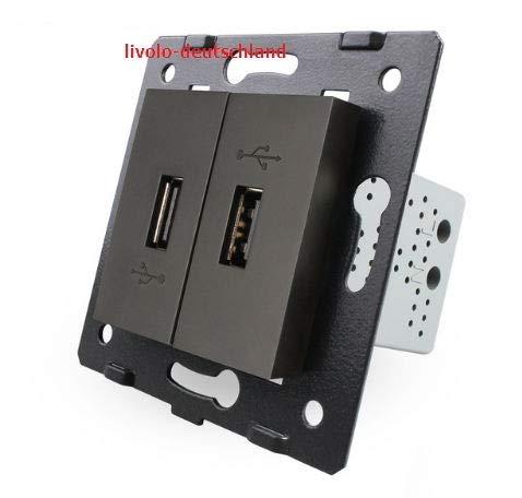 LIVOLO Glas Touch Lichtschalter Funkschalter Steckdosen Wechselschalter uvm in schwarz (Modul: USB Ladedose VL-C7-2USB-12)