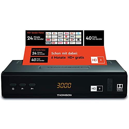 THOMSON THS844 Digitaler HD+ Satelliten Receiver DVB-S2, inkl. HD plus Karte 6M, 3 Jahre Garantie (HDMI, SCART, LAN, USB) schwarz