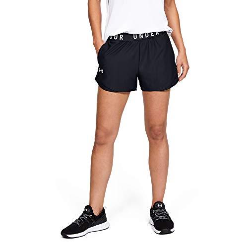 Under Armour Damen komfortable Sportshorts, Black / Black / White, L