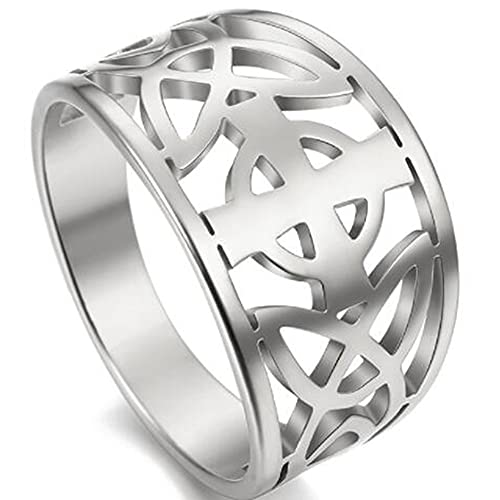 Stainless Steel Celtic Knot Cross Religious Wedding Statement Promise Anniversary Cocktail Party Ring (Silver, 8)