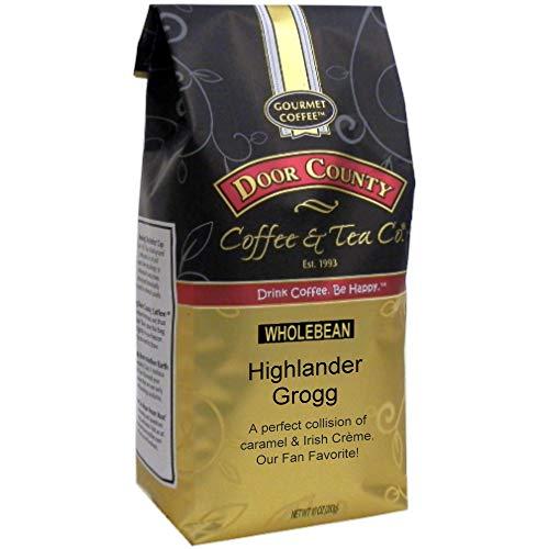 Door County Coffee, Highlander Grogg, Irish Creme and Caramel Flavored Coffee, Medium Roast, Whole Bean Coffee, 10 oz Bag