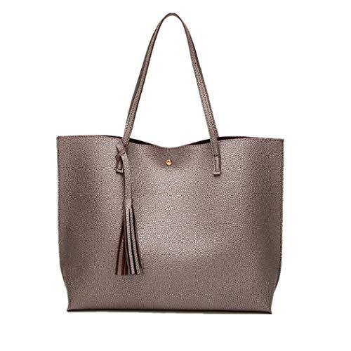 LIHAEI Damen Handtasche Leder Tasche Shopper Damen Handtaschen UmhäNgetasche Schule Gross Quaste Damentasche Handtasche Taschendieb