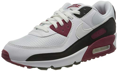 Nike Air Max 90, Chaussure de Course Homme, White/White-New Maroon-Black, 43 EU
