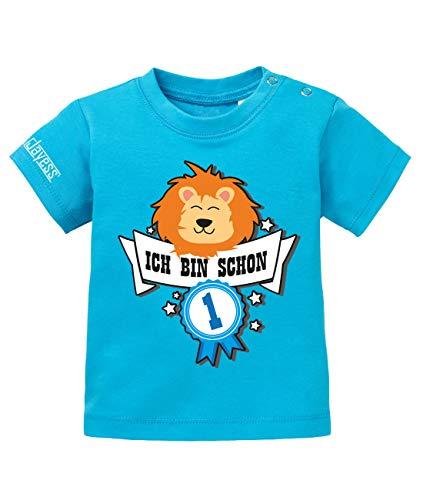 Jayess Baby Shirt Jungen zum 1 Geburtstag - ich Bin Schon 1 - Löwe Abzeichen - in Blau Gr. 80/86