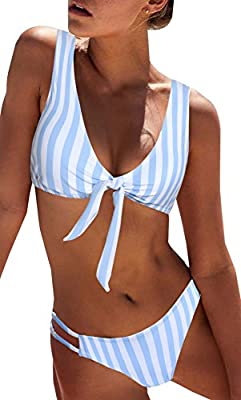 BMJL Women's Sexy Detachable Padded Cutout Push Up Striped Bikini Set Bow Tie Two Piece Swimsuit(M,Light Blue)