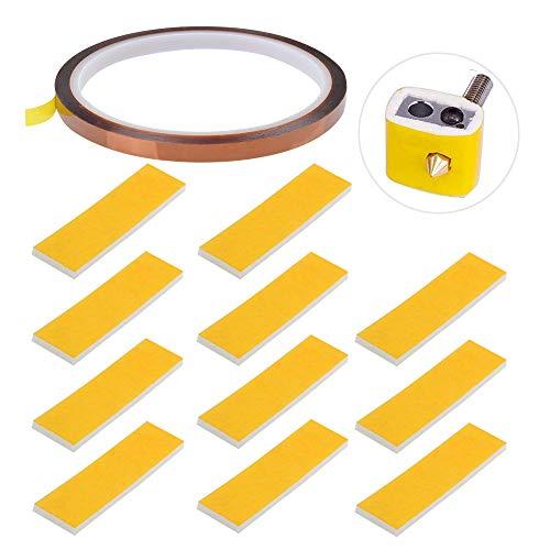 RUNCCI-YUN 11 Stück 3D Drucker Heizblock Baumwolle+ High Tempklebeband,Wird verwendet, um die Nutzungszeit des Druckers zu verlängern