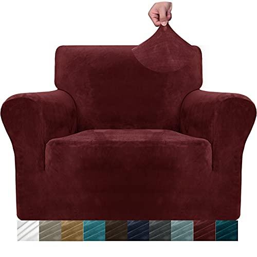 MAXIJIN Dicke Samt Stuhlhussen für Sessel Stretch rutschfeste Sofabezug 1-Sitzer Hunde Katze Haustier Wohnzimmer 1-teiliger Sofa Protector Stuhl Schonbezug (1 Sitzer, Weinrot)