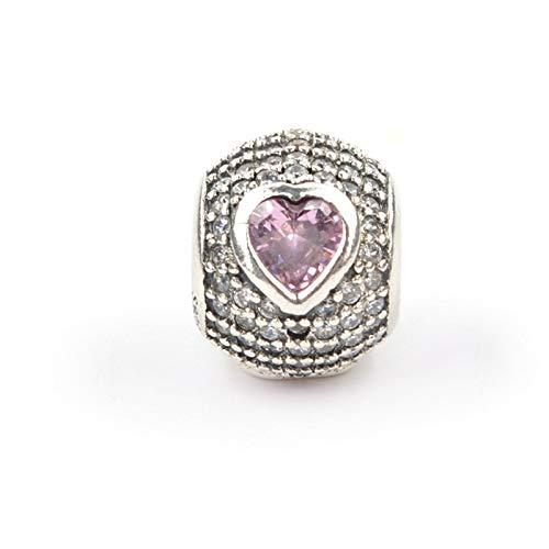 Pandora 925 Colgante De Plata Esterlina Corazón Piedra Encanto Para Mm Pulsera Fancy Pink Cz Beads Para Mujeres Pulseras Joyería